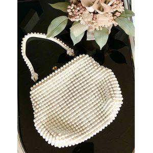 Vintage Grandee Cream Beaded Handbag